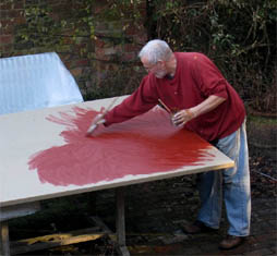 Michael Fairclough working on a canvas