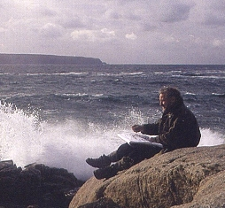 Michael Fairclough sketching on the rocks