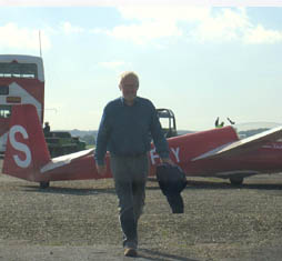 Michael Fairclough and a glider